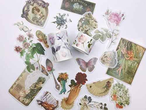Vintage Victorian Ladies, Roses washi Tape and Sticker Set. for scrapbooks, Gift wrap,decoupage, Custom Cards, Crafts and Wedding Accessories
