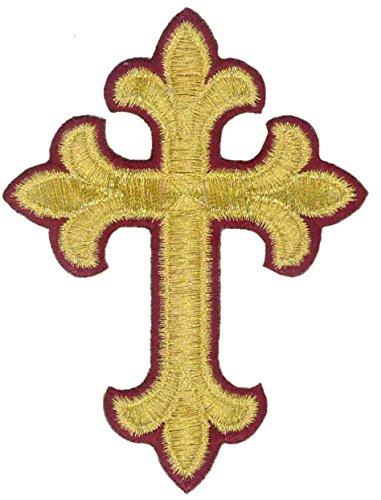 Fleur Cross Vestment-Embroidered Gold Metallic-Burgundy Edge Iron On - Vestment Cross