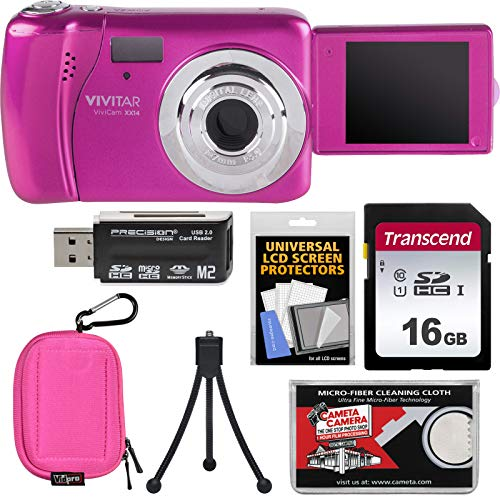 Vivitar ViviCam VXX14 Selfie Digital Camera (Pink) with 16GB Card + Case + Tripod + Reader + Kit
