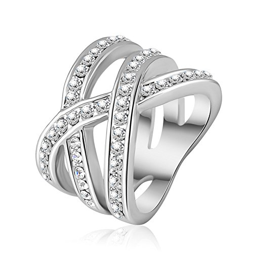 ABINA Double Cross Ring Trendy Ring Silver Plated WA Elements Austrian Crystal Rings 8.0 (Tin Man Nose)