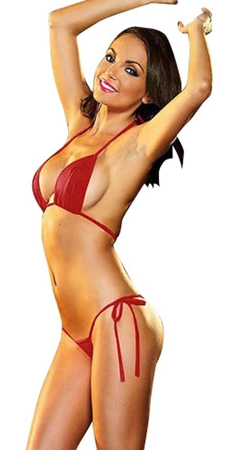 6fe0f521b0a42 Womens Plain Mini Bikini/Trikini/Swimsuit Elasticated Ties Red One Size 8-12:  Amazon.co.uk: Clothing