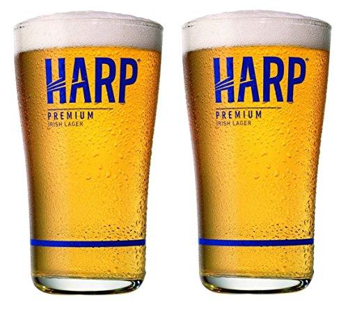 Harp Premium Irish Lager Midland Style Beer Glass   Set of 2
