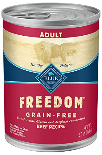 Blue Buffalo Freedom Grain Free Natural Adult Wet Dog Food, Beef 12.5oz cans (Pack of 12)