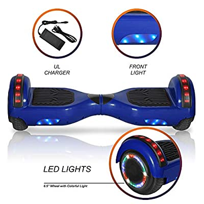 Chic Rechargeable Hoverboard for Kids and Adults with Wireless Speaker and LED Flashing Lights Safety Certified (Blue): Sports & Outdoors