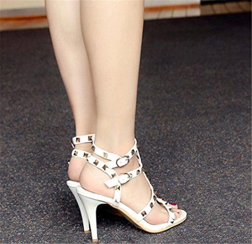 High with Heel Sandals Lh Rivet Fashion Buckle Sandals yu 35 White Quality Women Banquet Shoes High Party Fine RfxqBt8
