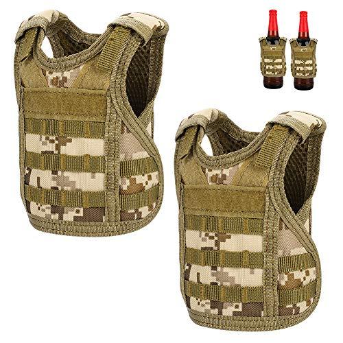 Accmor 2 Pack Beverage Beer Vests, Mini Tactical Molle Beverage Cooler Holder Drink Bottles Vest for 12oz or 16oz Cans or Bottles, Beverage Carrier Cool Bottle Decoration with Adjustable Straps (Ice Chest Unique)