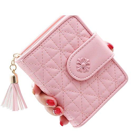 Woolala Damen Elegantees Argyle Taschen Mappen Karten Bargeld Änderungs Halter Mit Troddel Anhänger Für Geburtstag / Feiertags Geschenk, Grün Pink