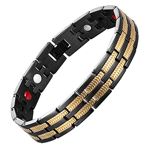 chaninely Magnetic Bracelet Stainless Steel Energy Magnet Therapy Bracelets for Men Arthritis Wristband Pain 8.5