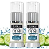 Eye Wrinkle Cream By Derma-nu - Anti Aging Eye Gel Treatment for Dark Circles, Puffiness & Wrinkles - Peptide Collagen Building Formula - Hyaluronic Acid & Amino Acid
