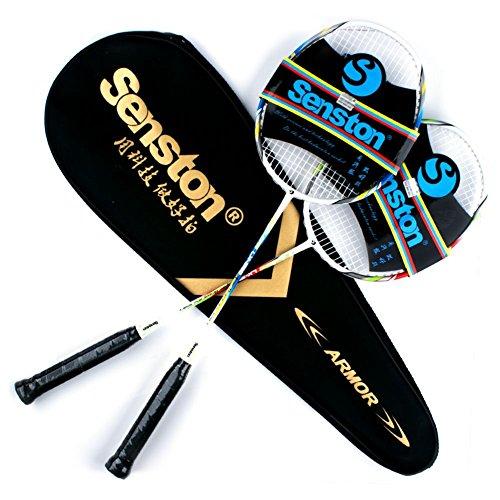 Senston Two pieces Graphite Shaft Badminton Racquet,Badminton Racket Set(Red and Blue),Including Badminton Bag,Set of 2