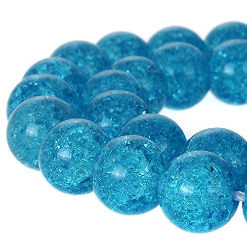 - RUBYCA Round Crackle Druk Czech Crystal Pressed Glass Beads for Jewelry Making 10mm Strand (Blue)
