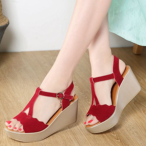 Platform On Pumps Dressy Ankle Strap JULY Heel Toe Claret1 Slip Buckle Fashion Shoes Slides Sandals Open Womens High Sexy T waUXBnqTpT