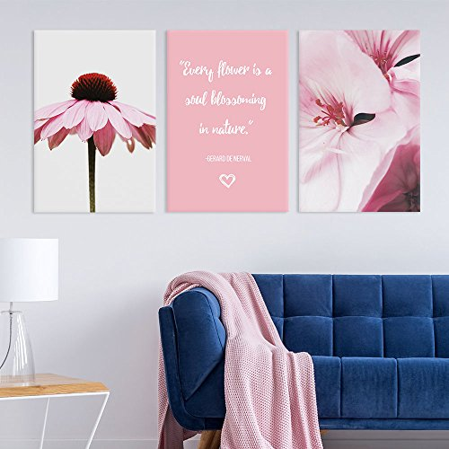 3 Panel Pink Flowers and Inspirational Quotes Gallery x 3 Panels