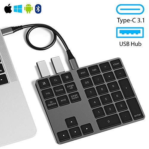 USB C Wireless Bluetooth Numeric Keypad for Mac/Windows/iPad/Android with USB Hub VOAMOKO - External Number Pad for Laptop & Tablets - Extended Battery Life - 34-Keys External Keyboard