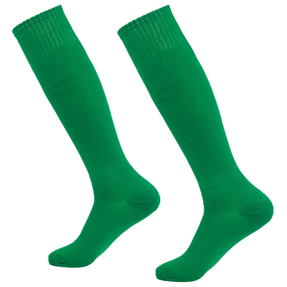 Green Soccer Socks 2 Pack, Getspor Womens Mens Party Costume Over the Calf Breathable Compression Football Training Tube Socks St. Patricks Day Costume