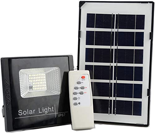 10W Solar Powered LED Flood Lights, 6000K, 600LM, IP65 Waterproof Dusk to Dawn Photocell Sensor with IR Remote Control, Solar Light Security Lighting Outdoor for Yard, Garden, Swimming Pool, Pathway
