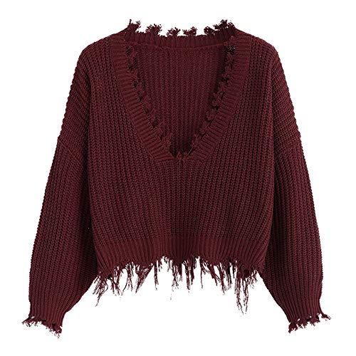ZAFUL Women's Loose Long Sleeve V-Neck Ripped Pullover Knit Sweater Crop Top (Wine Red)