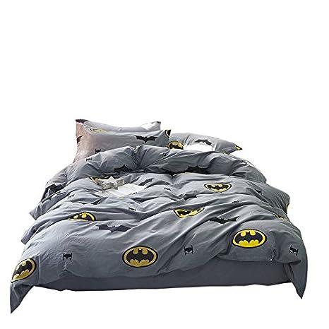 Papa& Mima Batman Fashion Cartoon Style Duvet Cover Set Pillow Cases 500TC Soft Cotton Print Fabric King Fitted Sheet 4pcs 200x230cm Bedding Sets Kang