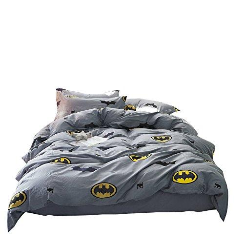 Papa&Mima Batman Fashion Cartoon Style Duvet Cover Set Pillow Cases 500TC Soft Cotton Print Fabric Queen Flat Sheet Set 4pcs 200x230cm Bedding Sets by Papa&Mima