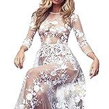 89LOOK-Sexy Lingerie Women Swimwear Lace Chiffon Crochet Bikini Cover up Bathing Suit Long Sleeve Wedding Bride Robe (M)