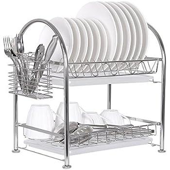 Amazon Com Nex Dish Rack Stainless Steel Two Tier