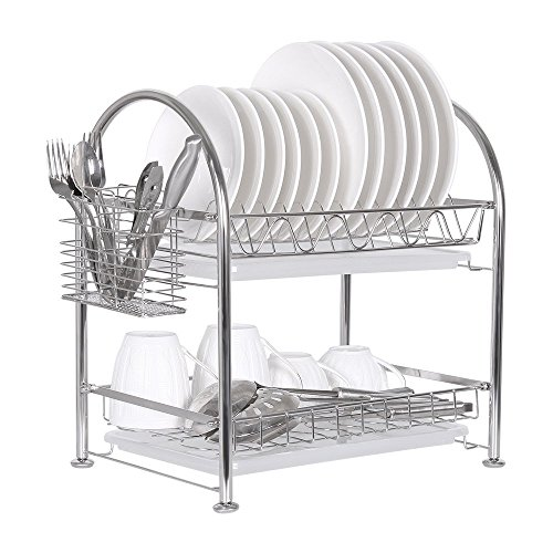 NEX Dish Rack Stainless Steel Two Tier Draining Rack Rustless Storage Rack with Chopstick Holder(D003) by NEX