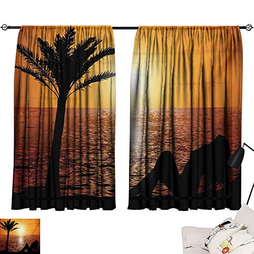 Davishouse Girls Decor Curtains Silhouette of Lady and Palm Tree on Tropical Beach at Sunset Horizon Scenery Print Home Garden Bedroom Outdoor Indoor Wall Decorations from Davishouse