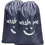 BGTREND Large Cartoon Laundry Bag Draw String, Jumbo Size [28''×40''], Printed Wash Me, Grey