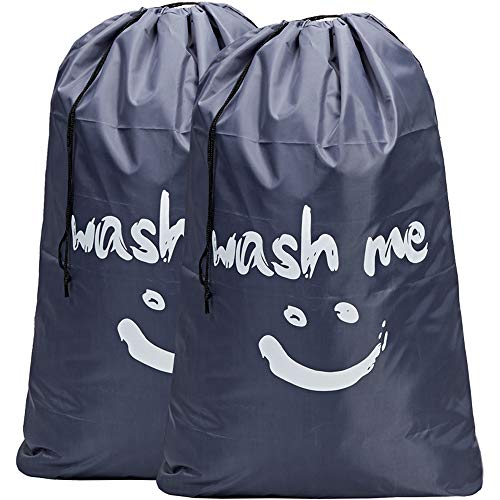 HOMEST 2 Pack Wash Me Travel Laundry Bag, 28 x 40 Inches Rip-Stop Nylon Heavy Duty Dirty Clothes Bag with Drawstring, Machine Washable, Anti-Odor, Grey