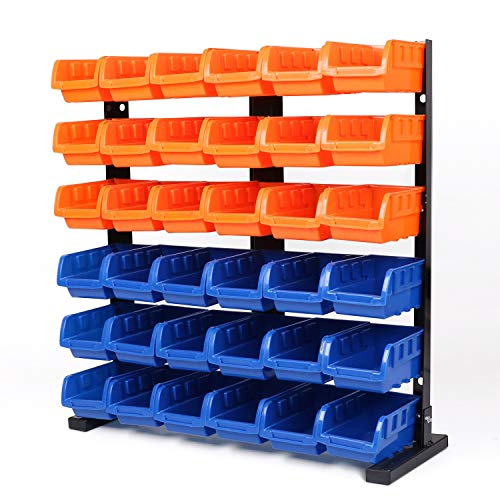 HORUSDY 36 Pcs Bin Storage Rack Shelving Garage Storage - Best Unique Tool Gift for - Storage Bin Rack