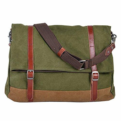 Paonies Männer Canvas Handtasche Schultertasche Messenger Bag Umhängetasche Reisetasche (Grün) Grün PtzRC
