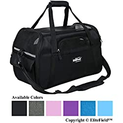 """EliteField Soft Sided Pet Carrier (3 Year Warranty, Airline Approved), Multiple Sizes and Colors Available (Medium: 17"""" L x 9"""" W x 12"""" H, Black)"""