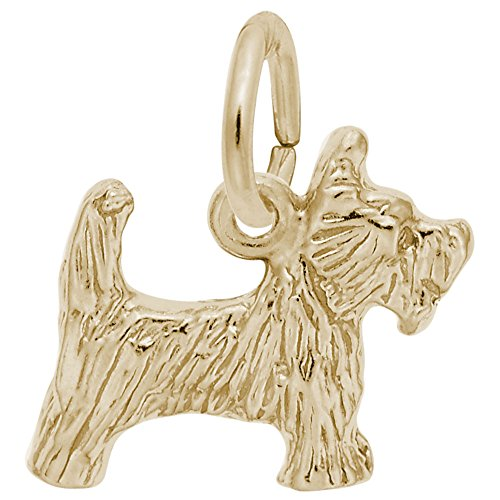 (Gold Plated Scottie Dog Charm, Charms for Bracelets and Necklaces)