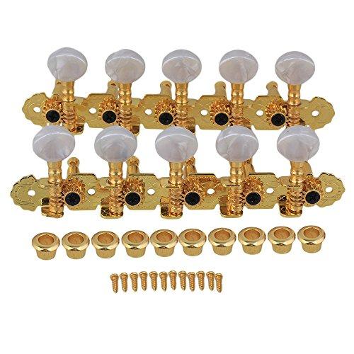 Yibuy 5L5R Guitar Tuning Keys Mica Machine Heads for Mandolin & 10 Strings Electric Guitar Golden