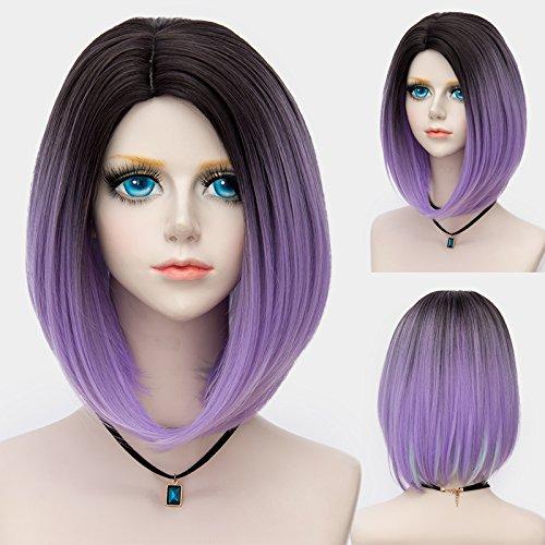 Probeauty Women's Wig Short Bob Dark Root Wig Women's Fashion Synthetic Ombre Wig (Dark Root Ombre Purple) by Probeauty (Image #2)