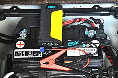 XINCOL X8 Kit 600A Peak 16800mAh Car Jump Starter Battery Booster Smart Clamps Belt Cutter Safety Hammer for Truck Van SUV 2-USB Power Bank for Mobile Phone Ipad Laptop +Ultra Bright 3 LED SOS Flashlights