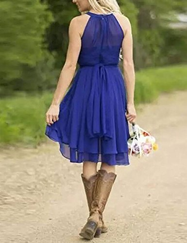 Halter Lo Dress Bridesmaid Blue ThaliaDress Sky Gown Hi Prom T052LF Short Country Chiffon wqx0IOE