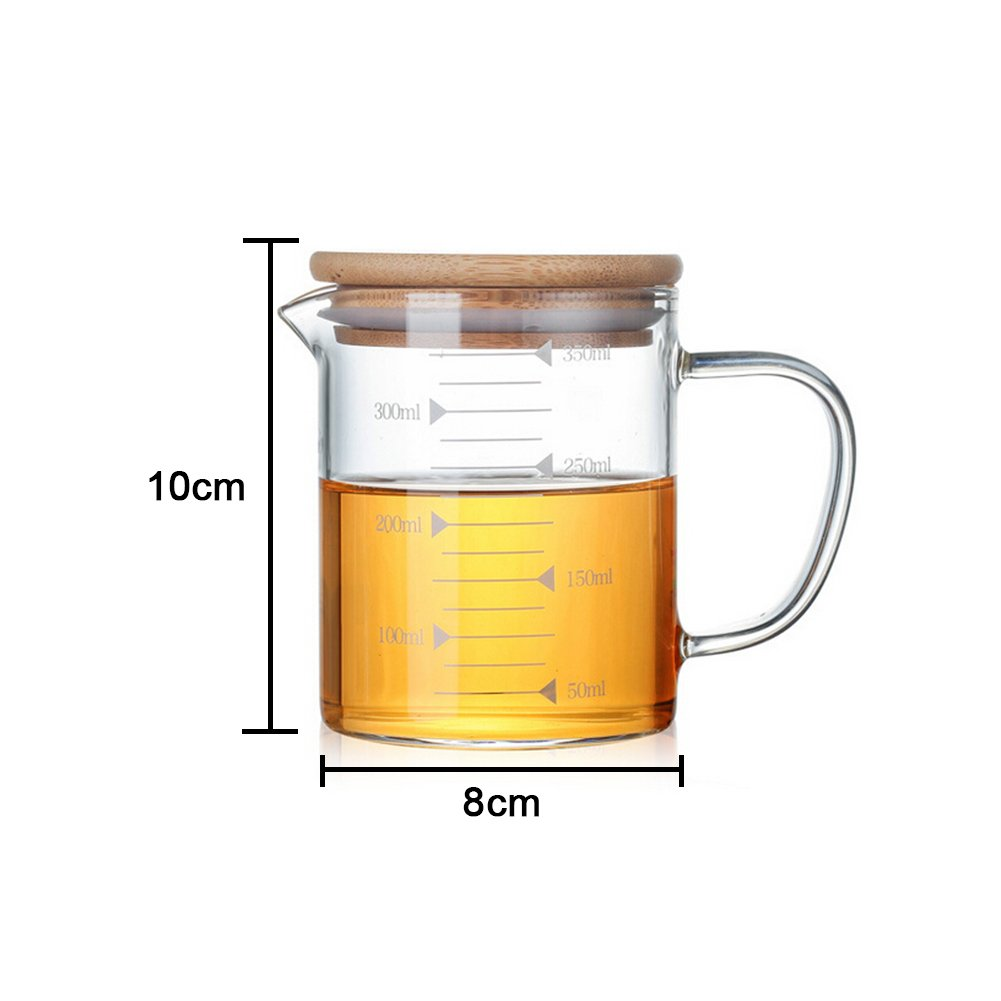 350-1000ml Heat-Resistant Glass Measuring Cup Glass Teapot Jug Scale Cup Glass With Bamboo Cover Hot/Cold Water Jug Perfect for Tea and Coffee Somedays