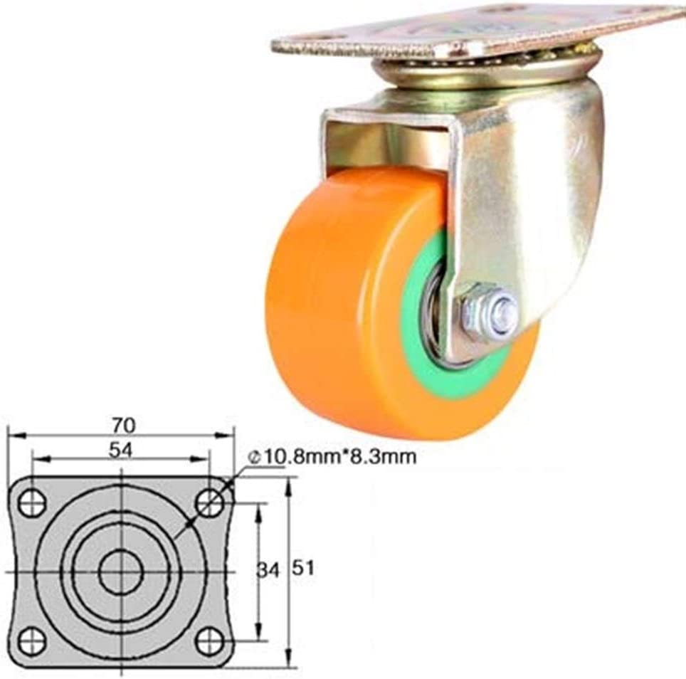 Byrhgood 4PCS 2 Inch Silent Casters Office Furniture Universal Wheel Flat Trolley Casters Polyurethane Heavy Duty Brakes Vientiane Wheel Color : A