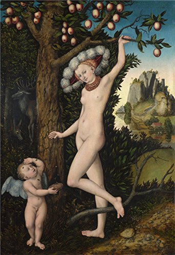 lucas-cranach-the-elder-cupid-complaining-to-venus-oil-painting-10-x-15-inch-25-x-37-cm-printed-on-p