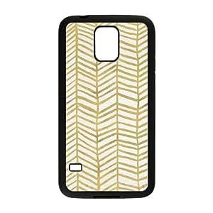 Samsung Galaxy S5 Cell Phone Case Black Gold Herringbone Rkqaf