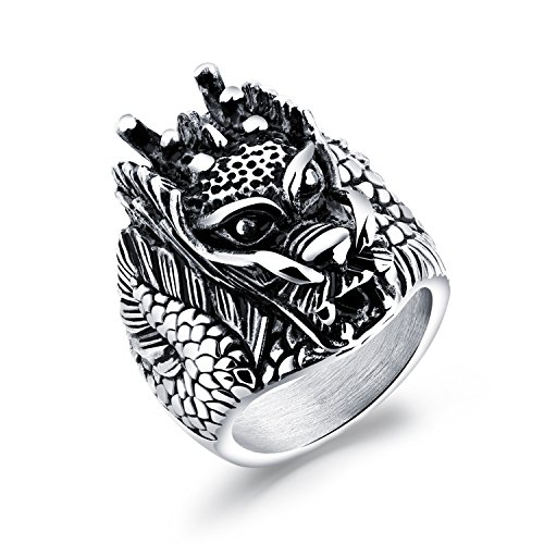 LOHOME Fashion Rings Titanium Steel Punk Chinese Dragon King Biker Charm Ring for Mens