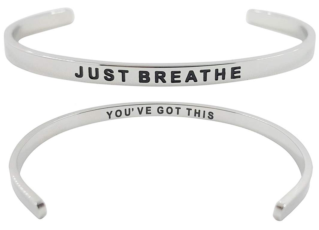 ''Just Breathe, You've Got This'' Inspirational Quote Motivational Positive Message Mantra Cuff Bracelet - Jewelry Gifts with Sayings & Words for Women, Teen Girls (Silver Tone)