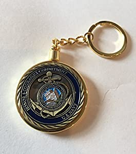 1 US Navy Core Values Challenge Coin plus clear Case and Gold Plated Keychain