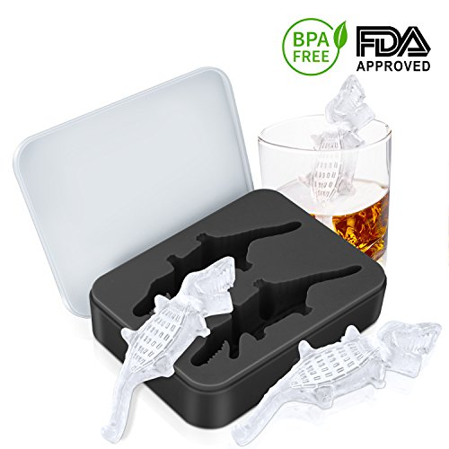 Ice Cube Trays (Crocodile Shape 5.8 inch), Large Ice Tray Molds Silicone, Ice Cube Mold for Whiskey, Cocktail, Beverages by Alrigon, BPA Free,Black