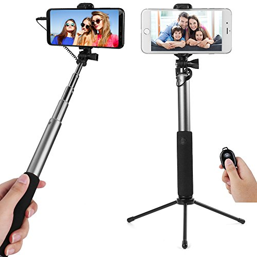 Compact Convertible Selfie Stick (Silver) to Tripod for Samsung Galaxy Note 9, A8 Star, J7, On6, J8, J4, J6, S8 Lite, S Lite, A6 Plus, A6, J7 Prime 2, J7 Duo, S9, S9 Plus, J2 Pro Note 8, S8, S8 Plus -  Best Price Center, AS_SLFLEA132_SAMSUNG