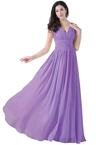 ASBridal V Neck Bridesmaid Dresses Long Chiffon Evening Formal Prom Dress