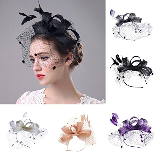 Vanvler Ring Clearance ! Fascinator,Vanvler [ Women Headdress ] Mesh Headwear Ribbons and Feathers Wedding Party Hats (Purple) (Feathers Outline)