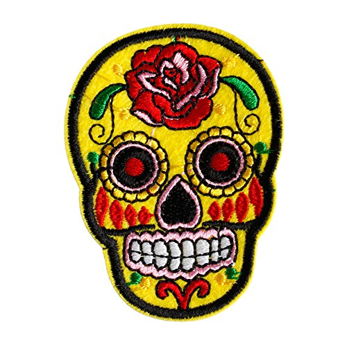 [Hunulu Sugar Skull Flower Iron On Applique Embroidered Patch DIY Sewing Patch Sticker (Yellow)] (Sugar Skull Costume Tumblr)