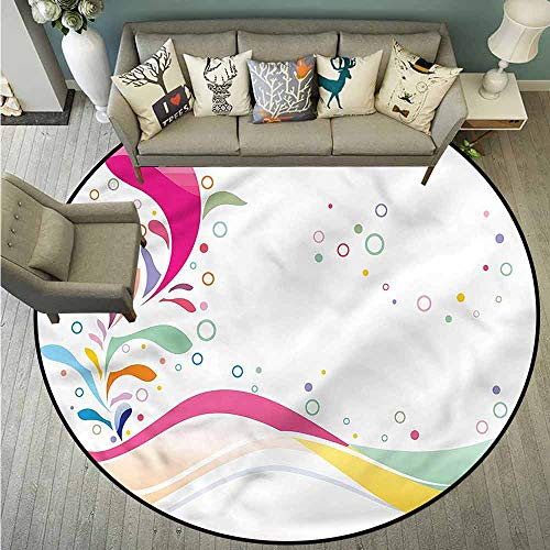 - Round Carpets,Floral,Cute Vivid Bubbles Dots,Rustic Home Decor,2'11